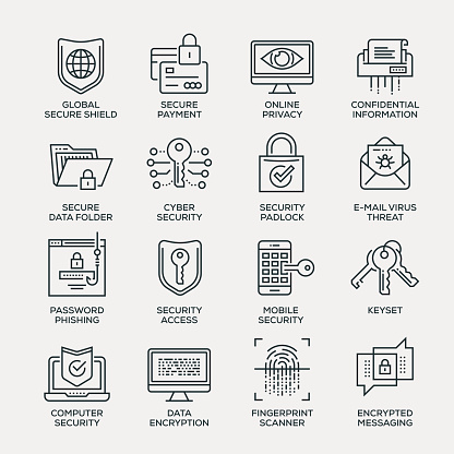 Cyber Security Icon Set - Line Series