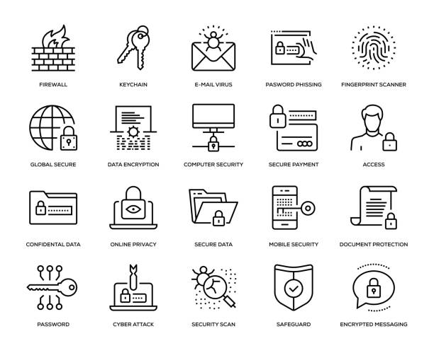 Cyber Security Icon Set Cyber Security Icon Set - Thin Line Series security stock illustrations
