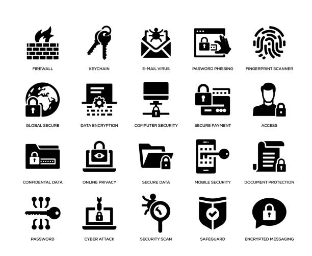 Cyber Security Icon Set Cyber Security Icon Set computer virus stock illustrations