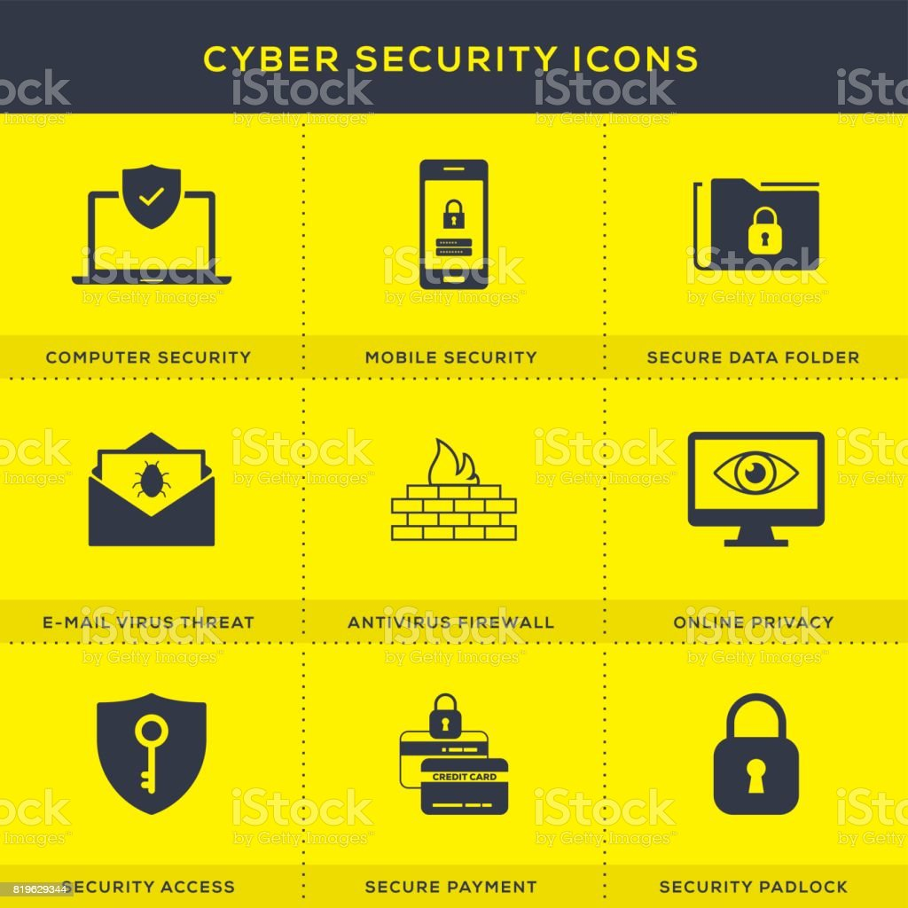 Cyber Security Icons Set vector art illustration