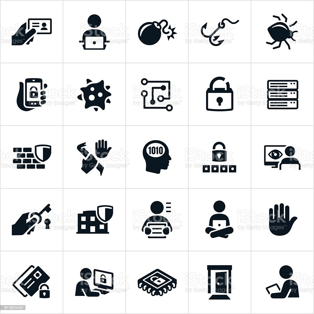 Cyber Security Icons vector art illustration