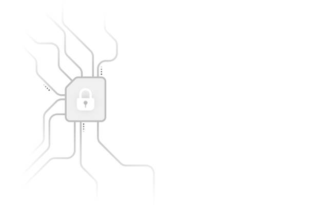 Cyber security illustration, grey lock file icon on circuit line on white background. Cyber security illustration, grey lock file icon on circuit line on white background, copy space composition. encryption stock illustrations
