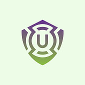 cyber security initial Letter U icon design