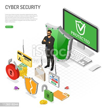 Cyber security isometric concept. Hacking and phishing. Guard protects computer from hacker attacks like steals password, credit card and email. Internet Security vector with isometric icons people