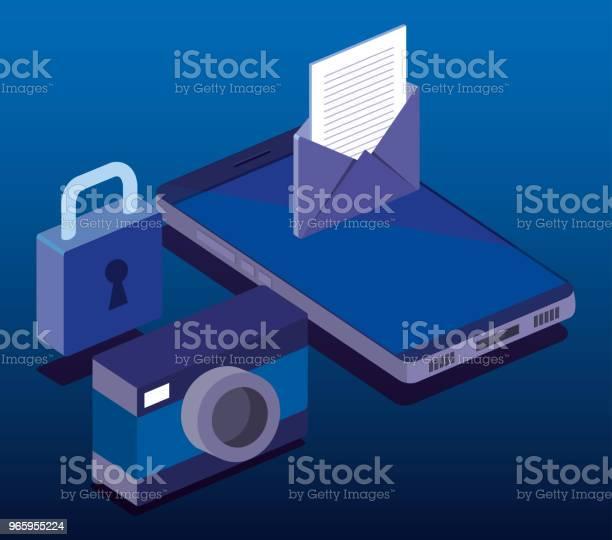 Cyber Security Isometrics Icons - Arte vetorial de stock e mais imagens de Acessibilidade
