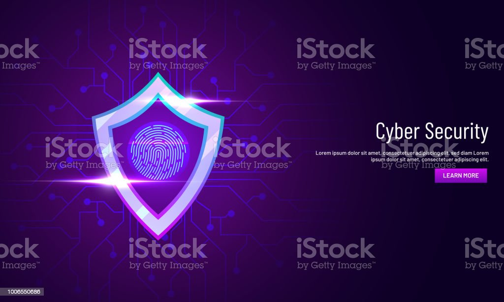 Cyber Security landing page design with illustration of protection shield with fingerprint scanner on neural network background. vector art illustration