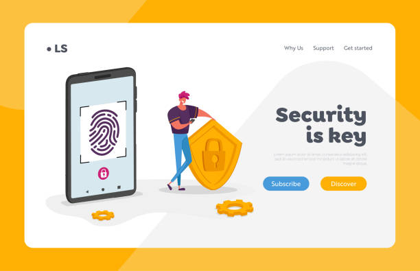 Cyber Security Landing Page Template. Man Character Stand at Huge Mobile Phone Holding Shield with Lock, Touch Screen for Finger Scan. Biometric ID Fingerprint Scanning. Cartoon Vector Illustration Cyber Security Landing Page Template. Man Character Stand at Huge Mobile Phone Holding Shield with Lock, Touch Screen for Finger Scan. Biometric ID Fingerprint Scanning. Cartoon Vector Illustration human finger stock illustrations