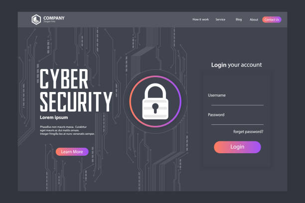 Cyber Security Landing Page Vector Template Design Cyber Security Landing Page Vector Template Design hacker stock illustrations