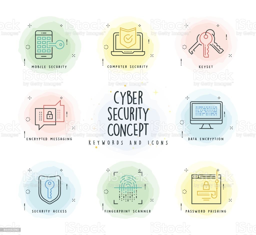 Cyber Security Line Icon Set with Watercolor Patch vector art illustration