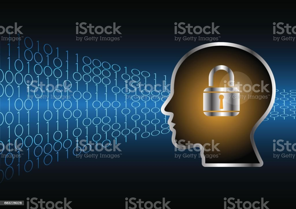 Cyber security master key lock human head 免版稅 cyber security master key lock human head 向量插圖及更多 1號 圖片