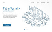 Cyber security modern isometric line illustration. Internet safety sketch drawn icon. Abstract 3d vector background. Online data protect service, access control web lock concept. Landing page template