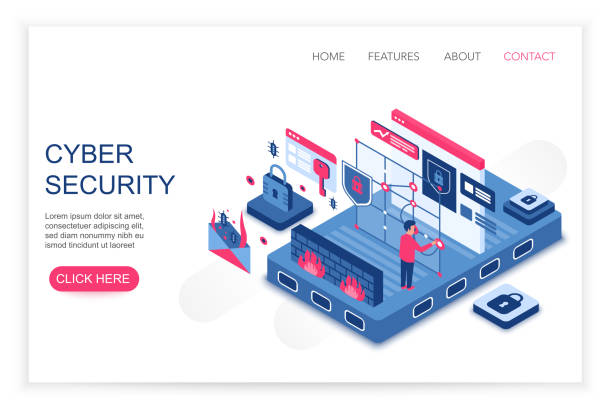 Cyber security, personal cloud data saving, privacy security concept 3d isometric web template vector illustration. People interacting with virtual screen charts and analyzing statistics. vector art illustration