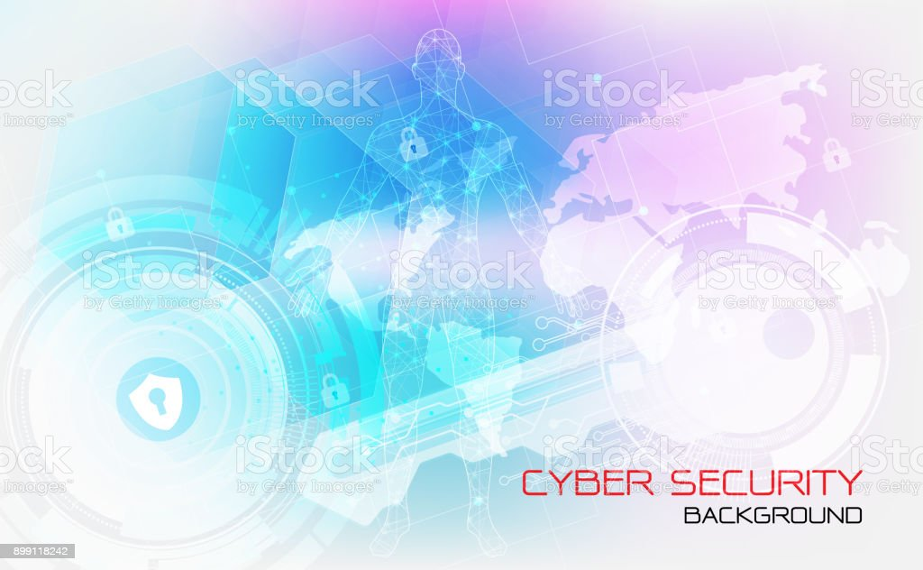Cyber security protection concept technology.Secure digital space. Virtual confidential, structure point connection, programming protection, padlock scheme system, vector illustration