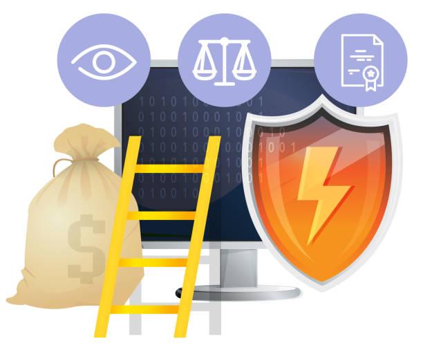 ilustrações de stock, clip art, desenhos animados e ícones de cyber security protocols - illustration - going inside eye