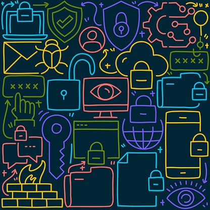 Cyber Security Related Doodle Illustration. Hand Drawn Vector Cyber Security Symbol and Icons.