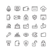 Cyber Security Related Vector Line Icons