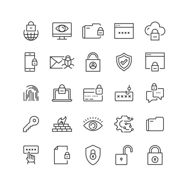 bildbanksillustrationer, clip art samt tecknat material och ikoner med cyber security relaterade vektor linje ikoner - skydd