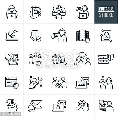 A set of Cyber Security icons that include editable strokes or outlines using the EPS vector file. The icons include cyber criminals, cyber security experts, a cybercriminal online, a cybercriminal using a stolen credit card, a security shield, a secure smartphone, identity theft, a secure building, a paddle-lock, secure transaction, virus, firewall, secure website, email virus, internet privacy and other cyber security related icons.