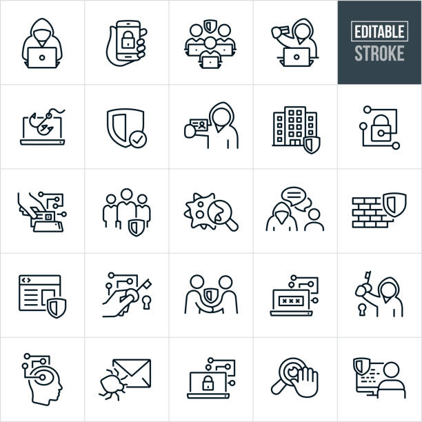 Cyber Security Thin Line Icons -Editable Stroke A set of Cyber Security icons that include editable strokes or outlines using the EPS vector file. The icons include cyber criminals, cyber security experts, a cybercriminal online, a cybercriminal using a stolen credit card, a security shield, a secure smartphone, identity theft, a secure building, a paddle-lock, secure transaction, virus, firewall, secure website, email virus, internet privacy and other cyber security related icons. defend stock illustrations