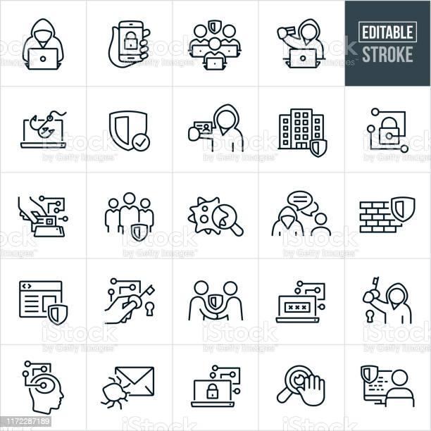 Cyber Security Thin Line Icons Editable Stroke — стоковая векторная графика и другие изображения на тему Безопасность сети