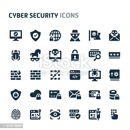 Simple bold vector icons related to cyber and internet security. Symbols such as fingerprint recognition, eyes ID, mobile, cloud & computer security are included in this set. Editable vector, still looks perfect in small size.