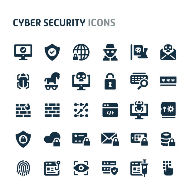 Cyber Security Vector Icon Set. Fillio Black Icon Series. Simple bold vector icons related to cyber and internet security. Symbols such as fingerprint recognition, eyes ID, mobile, cloud & computer security are included in this set. Editable vector, still looks perfect in small size. computer crime stock illustrations