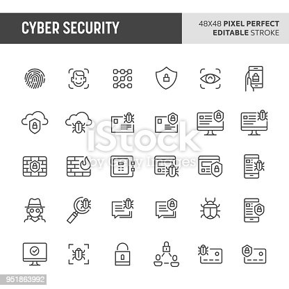 30 thin line icons associated with cyber security with fingerprint recognition, face ID, mobile, cloud & computer security are included in this set. 48x48 pixel perfect vector icon with editable vector.