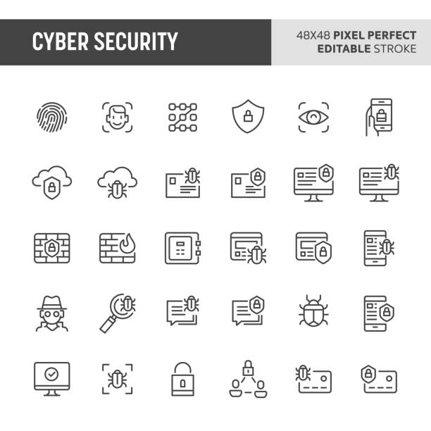 cyber security vector icon set - bugs stock illustrations, clip art, cartoons, & icons