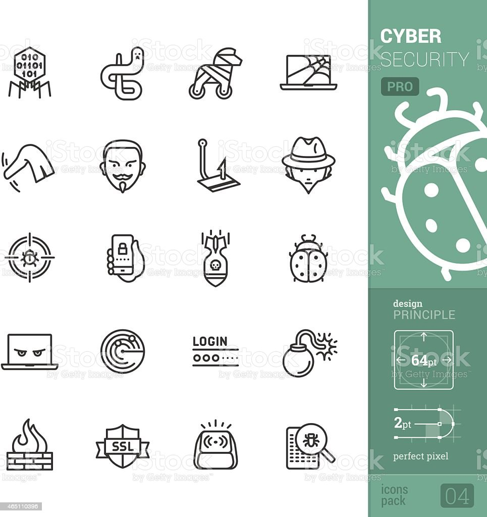 Cyber security vector icons - PRO pack vector art illustration