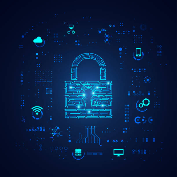 cyber security concept of cyber security, shape of padlock with digital technology element antivirus software stock illustrations