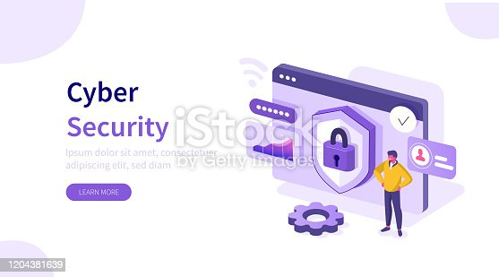 Laptop with Firewall Protection Shield on Screen. Personal Information and Data Safety. Password Security. Cyber Security and Data Protection Concept. Flat Isometric Vector Illustration.
