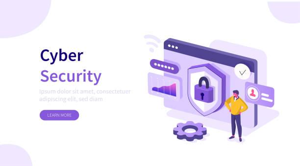 ilustraciones, imágenes clip art, dibujos animados e iconos de stock de ciberseguridad - seguridad