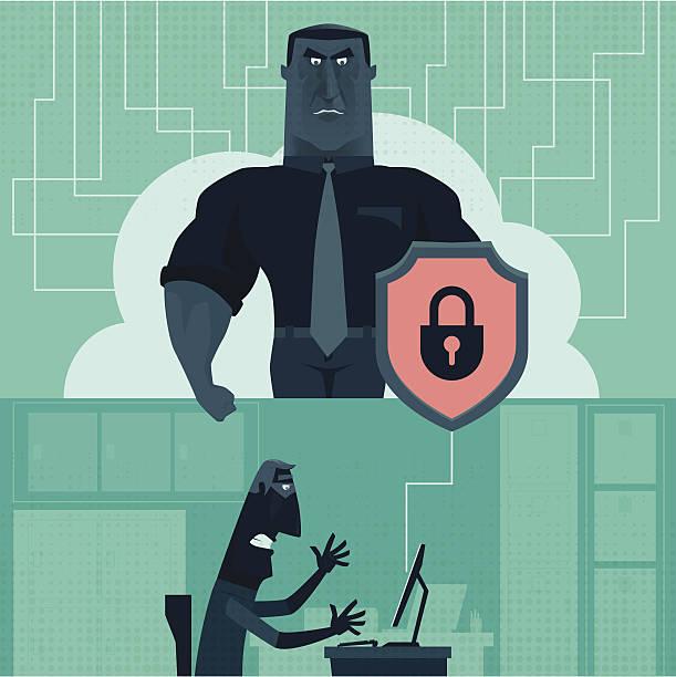 ilustrações, clipart, desenhos animados e ícones de cyber de segurança - roubo de identidade