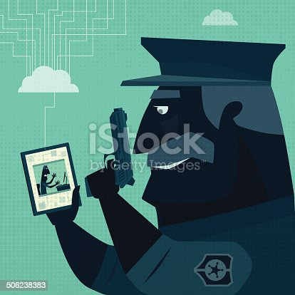 vector illustration of armed cyber police office watching tablet…