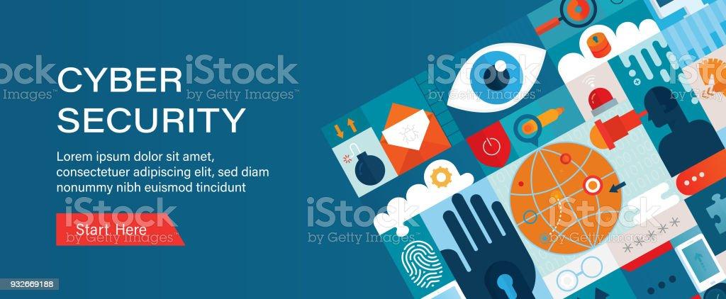 Cyber Security Web Banner Vorlage – Vektorgrafik