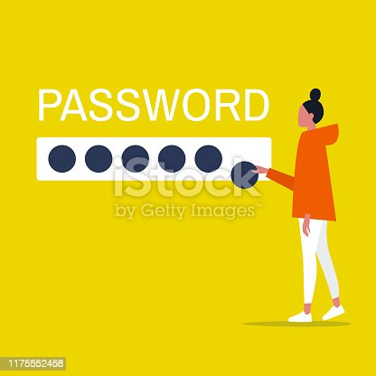 Cyber security. Young female character entering a password. User access to account. Flat editable vector illustration, clip art
