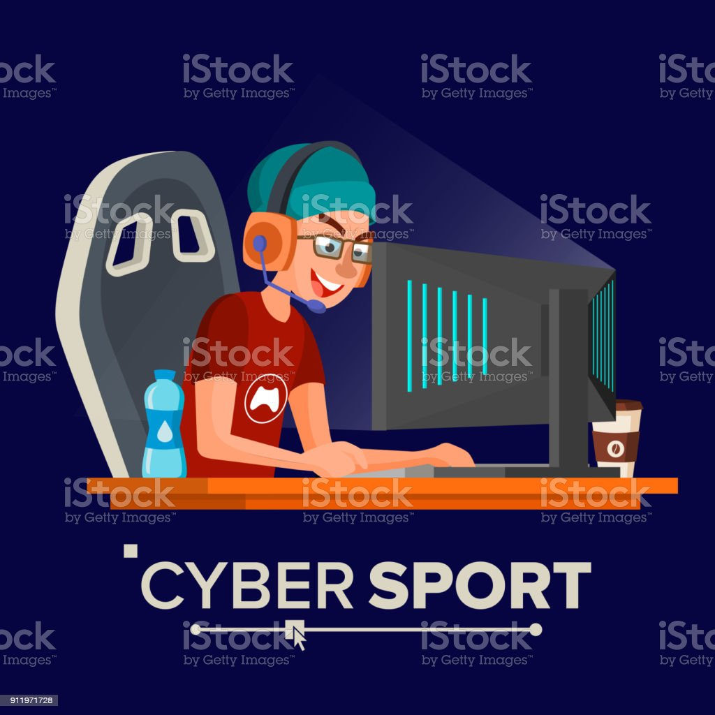 Cyber Sport Player Vector. Sitting At The Table. Cyber Sport Tournament. Competitive MMORPG. Final Match. Game Tactic. Flat Cartoon Illustration vector art illustration