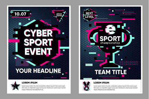 Cyber sport poster. Electronic games backgrounds. Glitch style vector banner for web event