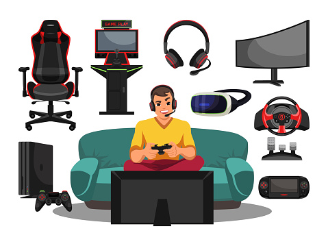 Cyber sport pro gamer, equipment and accessory set