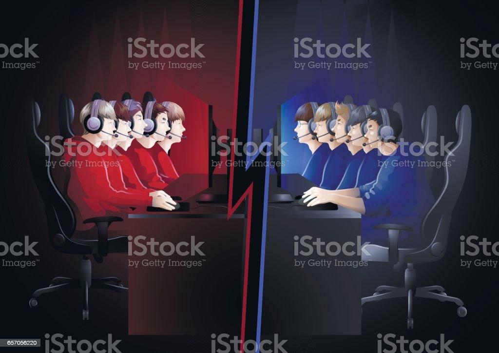 Cyber sport team vector art illustration
