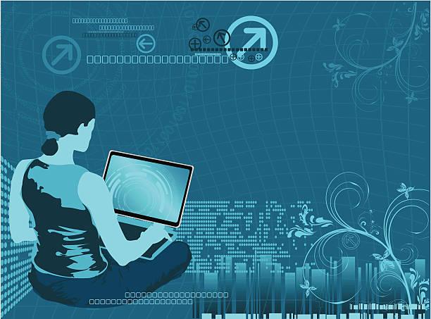 Cyber Surfing vector art illustration