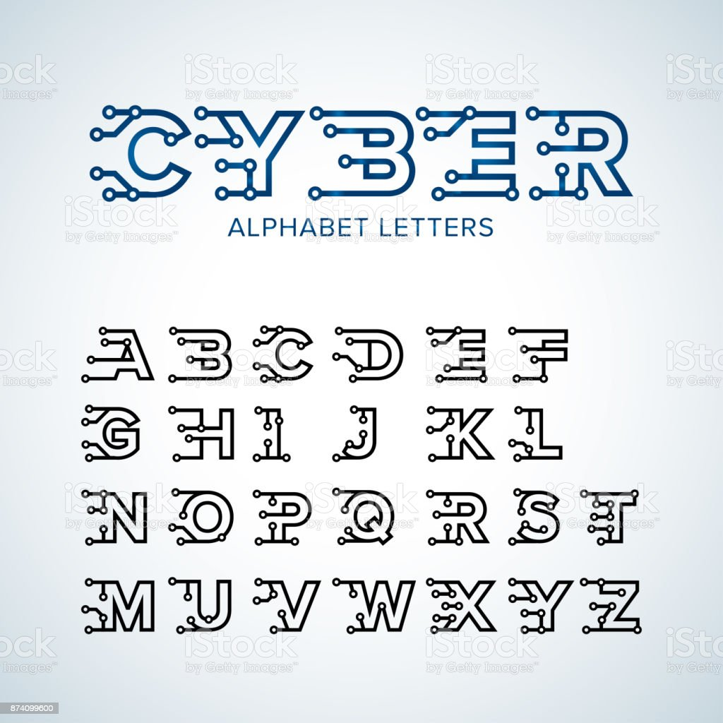 Alphabet Style cyber techno type font alphabet digital hitech style letters numbers