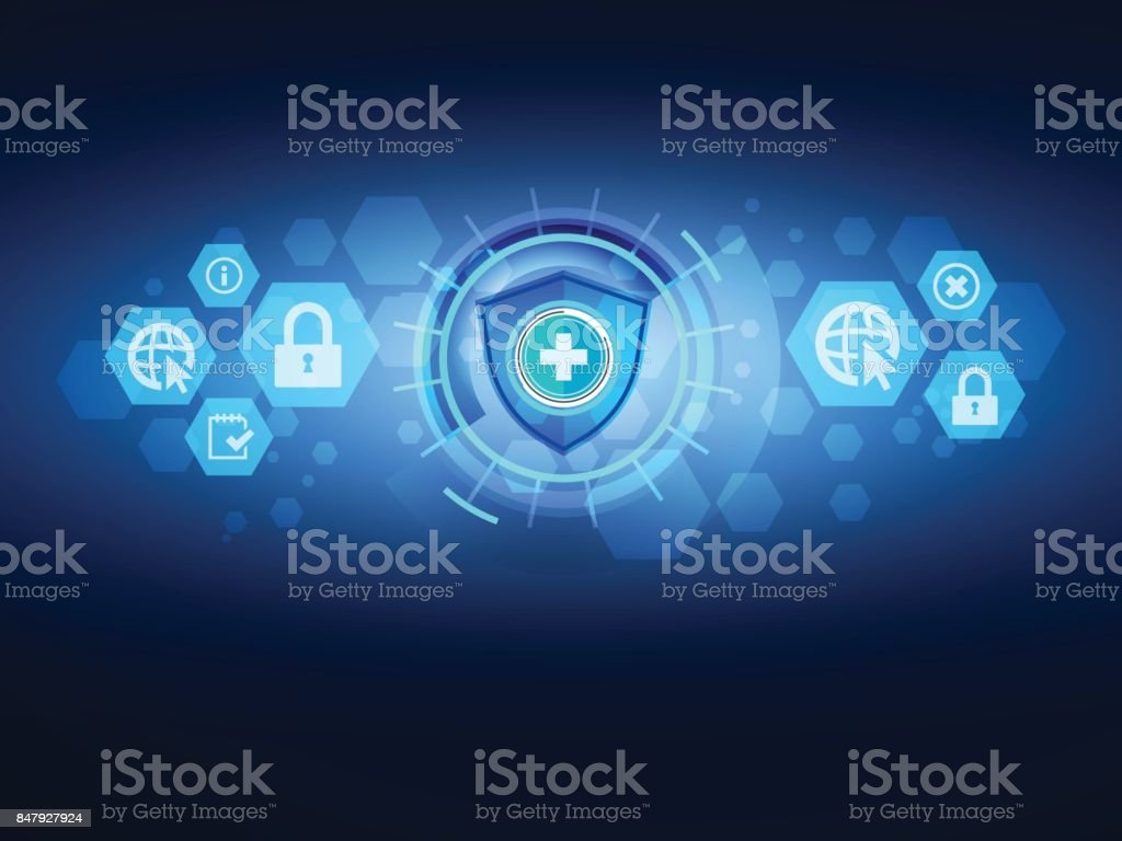 Cyber Technology Security Background Vector Illustration