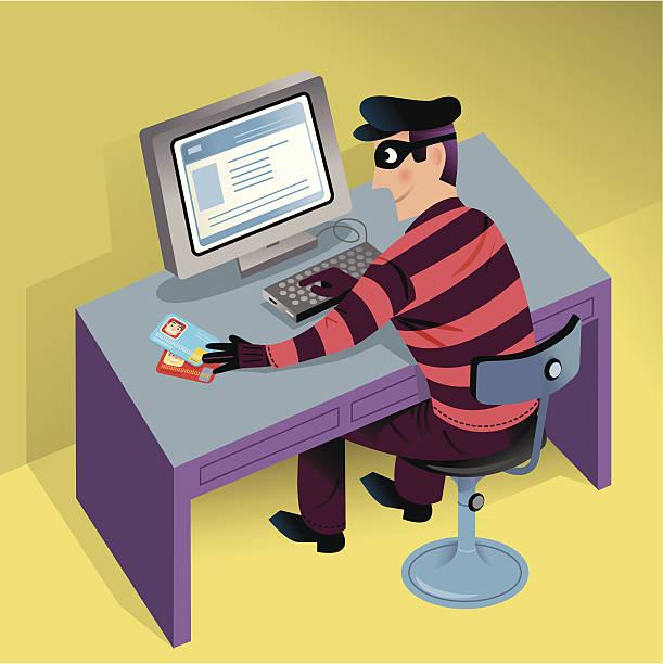 ilustraciones, imágenes clip art, dibujos animados e iconos de stock de cyber robo - robo de identidad