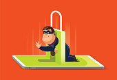 cyber thief with padlock and smartphone
