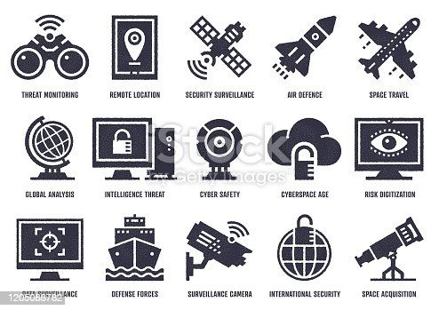 Vector icon set with stipple texture effect created by the influence of cyber warfare. High-quality graphic design illustrations for print designs, website symbols, apps, social media icons, and infographics.