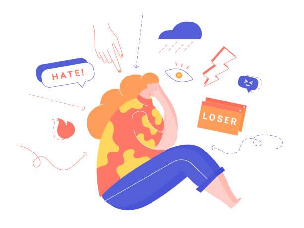 illustrazioni stock, clip art, cartoni animati e icone di tendenza di cyberbullying, bullying using electronic means, online pressure. - violenza donne