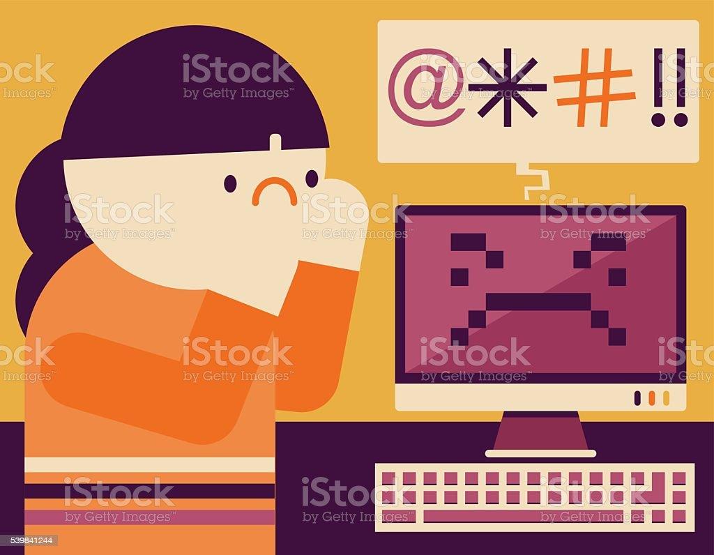 Cyberbullying vector art illustration