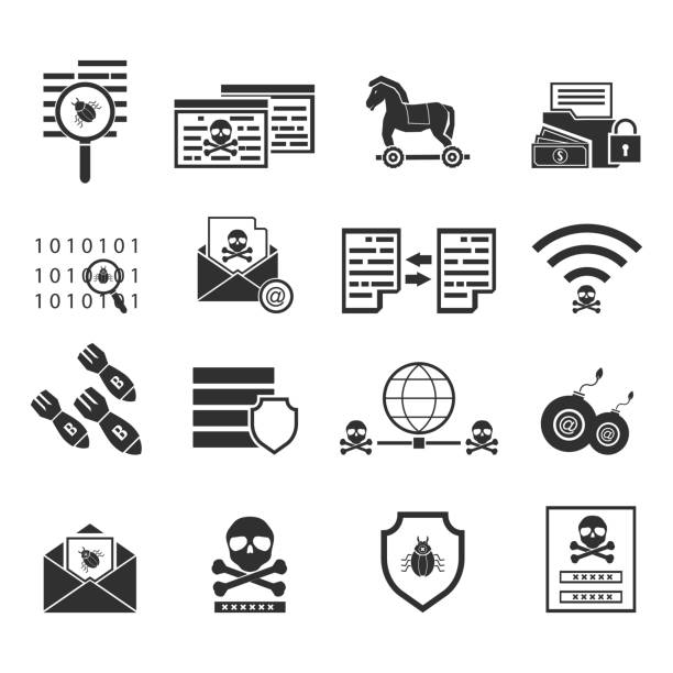 Cybercrime internet network security black icon. Vector illustration cyber crime online security concept. vector art illustration