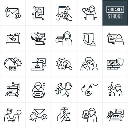 A set of Cybercrime icons that include editable strokes or outlines using the EPS vector file. The icons include cybercriminals, malicious email, email and internet fraud, data breach, unsecured internet connection, identity theft, cybercriminal using stolen credit card, phishing scam, online scams, cybercriminal using malicious code for fraud purposes, computer virus, malware, breached firewall, vulnerable website, cybercriminal under arrest, cybercrime taking place, cybercriminal with a key to a lock, insecure electronic money transfer and password breach to name a few.